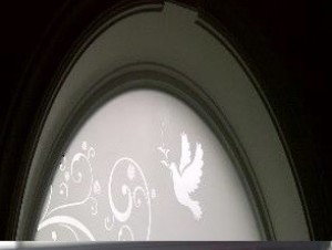 Arched Window Custom Etched Glass