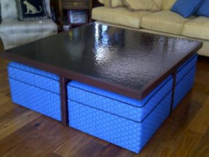 Turnbull designed Glass Top Table with Ottoman.