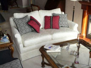Classic White Upholstered Love Seat