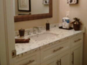 Bathroom Cabinet with Engineered Quartz Countertop